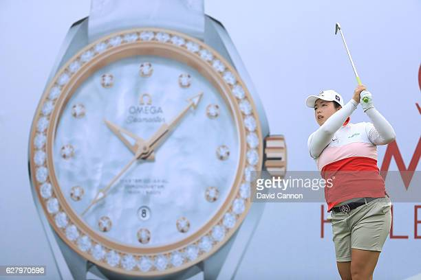 Shanshan Feng of China the defending champion in action during the proam as a preview for the 2016 Omega Dubai Ladies Masters on the Majlis Course at...