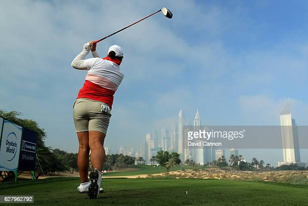 Shanshan Feng of China the defending champion tees off on the par 4 eighth hole as the early morning fog starts to dissipate during the proam as a...