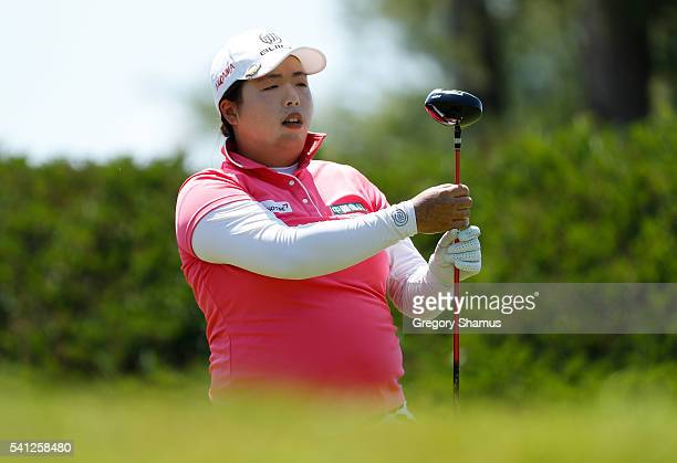 Shanshan Feng of China watches her tee shot on the 10th hole during the final round of the Meijer LPGA Classic on June 19 2016 at Blythefield Country...