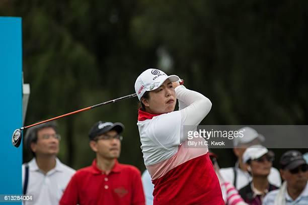 Shanshan Feng of Guangzhou China plays a shot in the Fubon Taiwan LPGA Championship on October 8 2016 in Taipei Taiwan
