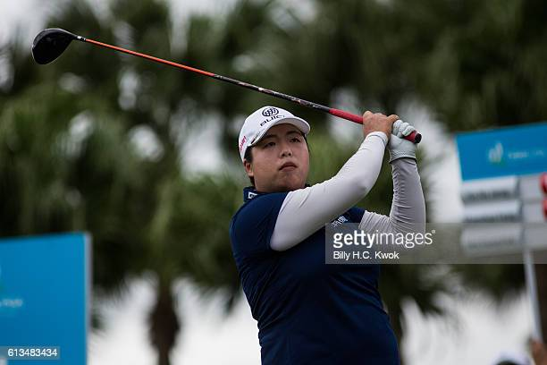 Shanshan Feng of Guangzhou China plays a shot in the Fubon Taiwan LPGA Championship on October 9 2016 in Taipei Taiwan