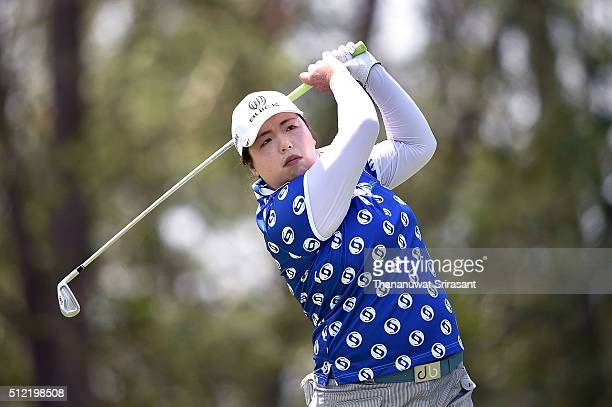 Shanshan Feng of Republic of China plays a shot during day one of the 2016 Honda LPGA Thailand at Siam Country Club on February 25 2016 in Chon Buri...