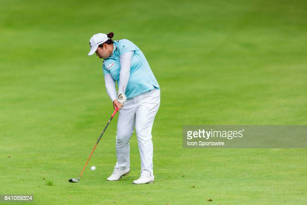 Shanshan Feng plays a shot on the fairway of the 9th hole during the final round of the Canadian Pacific Women's Open on August 27 2017 at The Ottawa...