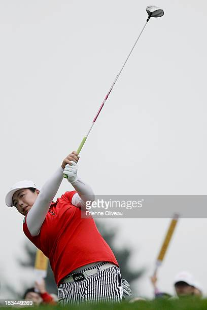 Shanshan Feng tees off on the 16th tee during the final round of the Reignwood LPGA Classic at Pine Valley Golf Club on October 6 2013 in Beijing...