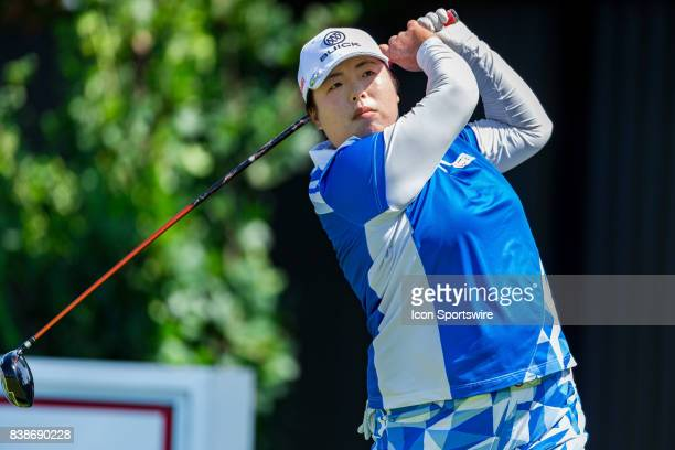 Shanshan Feng tees off the 10th hole during the first round of the Canadian Pacific Women's Open on August 24, 2017 at The Ottawa Hunt and Golf Club,...