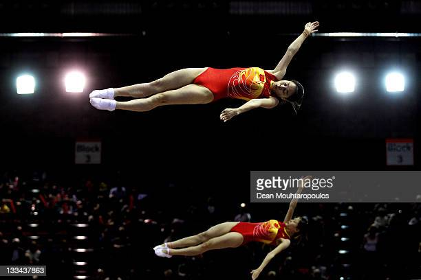 Shanshan huang and Li Meng of China compete in the Synchronized Trampoline Womens Qualification during the 28th Trampoline and Tumbling World...