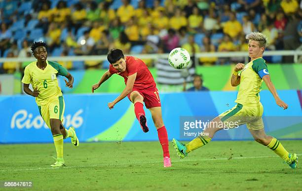 Shanshan Wang of China shoots at goal during the Women's Group E first round match between South Africa and China PR on Day 1 of the Rio 2016 Olympic...