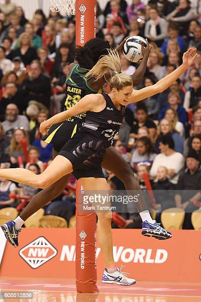 Shantal Slater of Jamaica and Jane Watson of the Silver Ferns on September 14 2016 in Palmerston North New Zealand