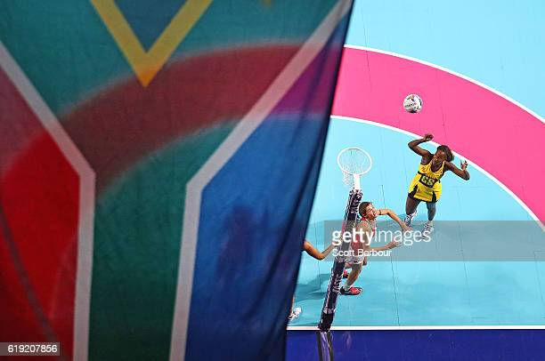 Shantal Slater of Jamaica shoots for goal during the Fast5 Netball Series match between England and Jamaica at Hisense Arena on October 30 2016 in...