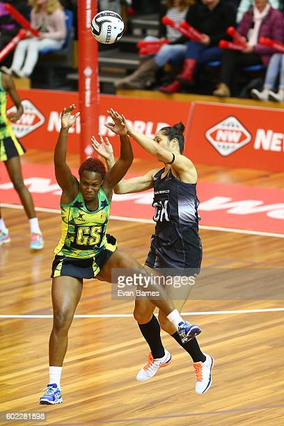 Shantal Slater tries to grab the ball from Jane Watson during the International Test Match between the New Zealand Silver Ferns and Jamaica on...
