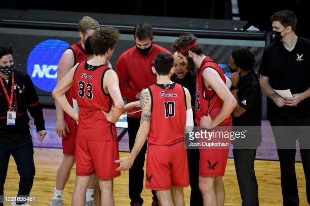 Shantay Legans head coach of the Eastern Washington Eagles gives direction to his team agains the Kansas Jayhawks in the first round of the 2021 NCAA...
