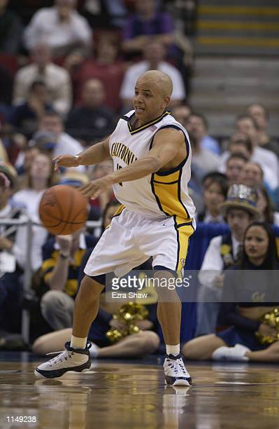 Shantay Legans of the California Golden Bears passes the ball during the first round of the 2002 NCAA Division I Men's Basketball Championships...