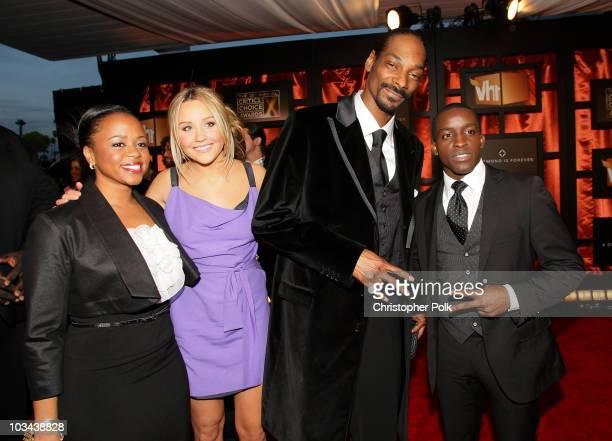 Shante Broadus, actress Amanda Bynes, rapper Snoop Dogg and actor Elijah Kelley arrive at the 13th ANNUAL CRITICS' CHOICE AWARDS at the Santa Monica...