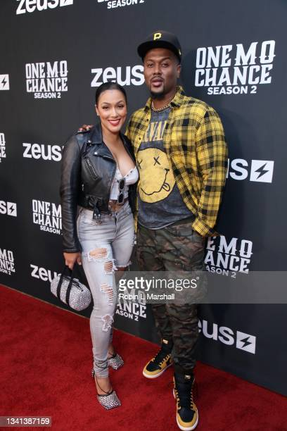 """Shantel Jackson and JR Taylor attend Zeus Network's """"One Mo Chance"""" Season 2 Premiere at AMC Universal at City Walk on September 19, 2021 in..."""