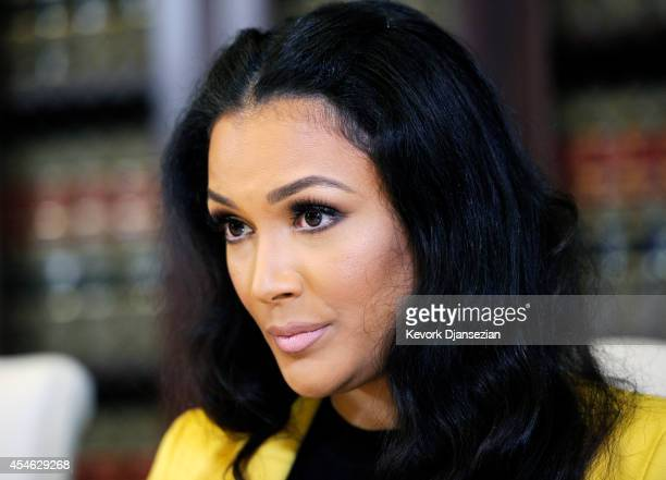 Shantel Jackson exfiancee of boxer Floyd Mayweather Jr during a news conference with her attorney Gloria Allred after announcing a lawsuit against...