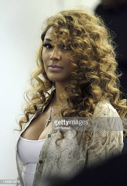 Shantel Jackson fiancee of Boxer Floyd Mayweather Jr arrives to his media workout at Mayweather Boxing Gym on April 24 2012 in Las Vegas Nevada