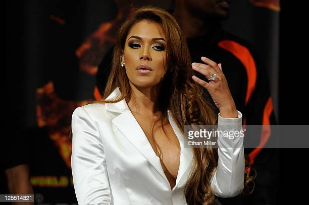 Shantel Jackson the fiancee of Floyd Mayweather Jr attends the postfight news conference after Mayweather Jr knocked out Victor Ortiz in the WBC...