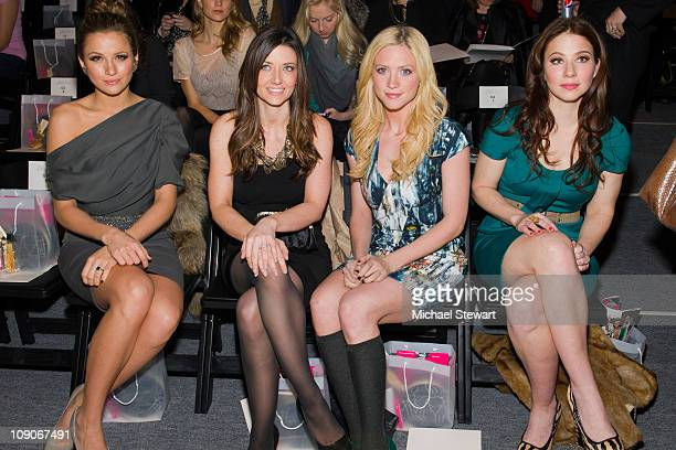 Shantel Van Santen friend actress Brittany Snow and actress Lynn Collins attend the Lela Rose Fall 2011 fashion show during MercedesBenz Fashion Week...