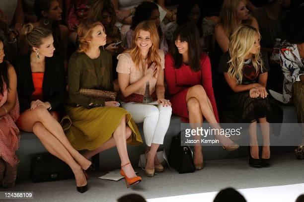 Shantel Vansanten, Whitney Port, Joanna Garcia, Jamie-Lynn Sigler and Ashley Tisdale attends the Luca Luca Spring 2012 fashion show during...