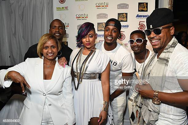 Shanti Das Keith Robinson Kris Kelli Jackie Long and Columbus Short attend ATL Live On The Park at Park Tavern on August 12 2014 in Atlanta Georgia