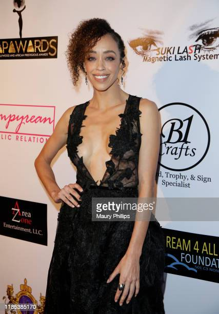 Shanti Lowry arrives at the Hollywood and African Prestigious Awards at Alex Theatre on November 03, 2019 in Glendale, California.
