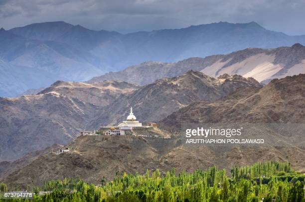 Shanti Stupa from view point of Leh city , Ladakh , India