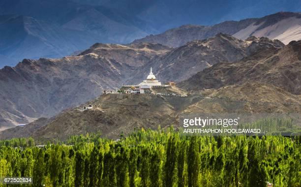 Shanti stupa from view point of Leh city , Ladakh region , India