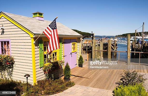 shanty on the dock - bar harbor stock photos and pictures