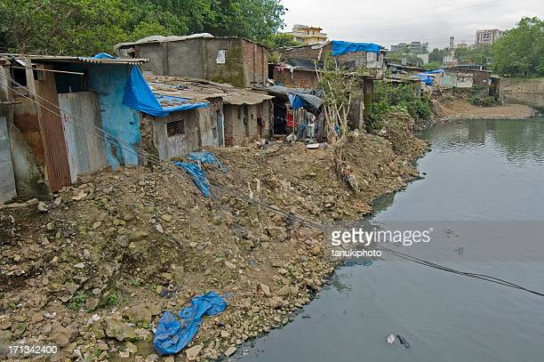 shanty town - indian slums stock pictures, royalty-free photos & images