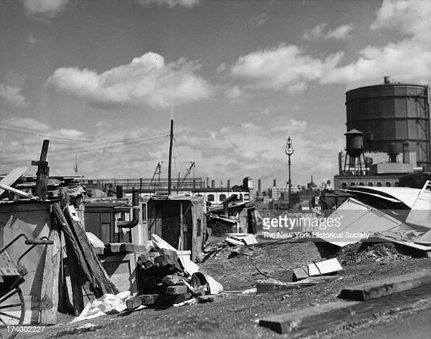 Shantytown built by unemployed men photograph late 1920s