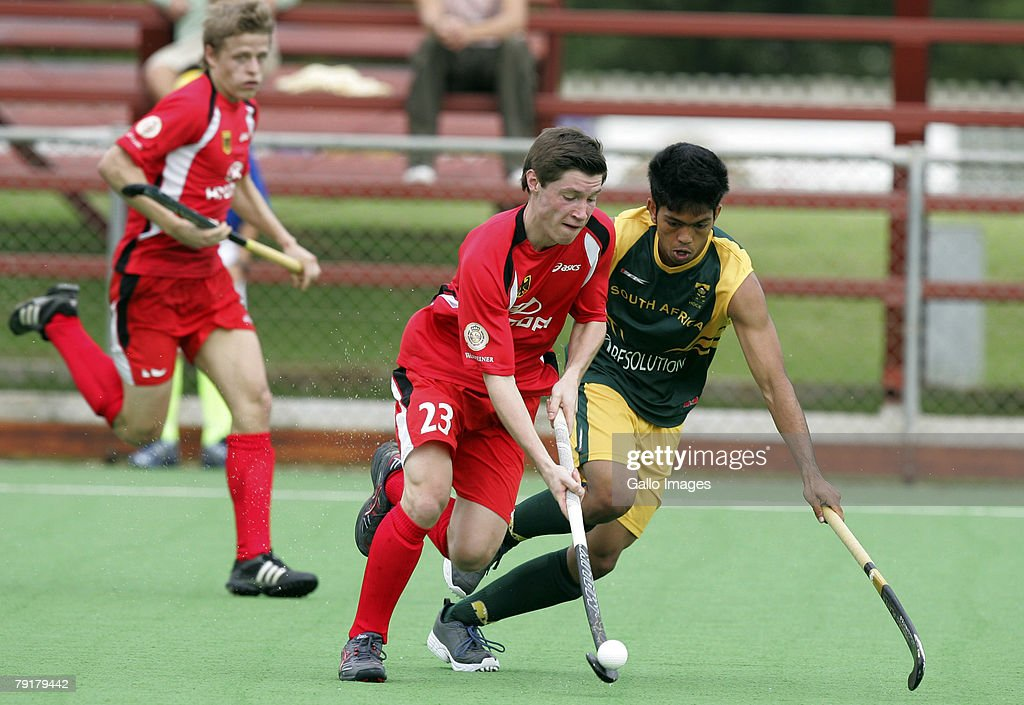 Shanyl Balwanth of South Africa and Martin Zwicker of Germany during the Five Nations Mens Hockey tournament match between South Africa and Germany held at the North West University hockey centre on January 23, 2008 in Potchefstroom, South Africa.