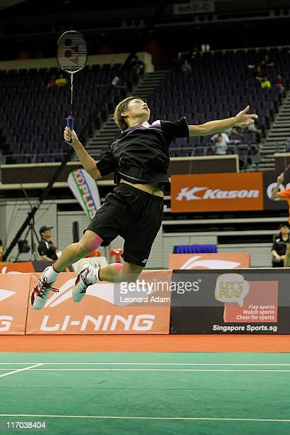 Shao Chieh Cheng of Taipe competes in her match against Tine Baun of Denmark during day four of the LiNing Singapore Open at Singapore Indoor Stadium...