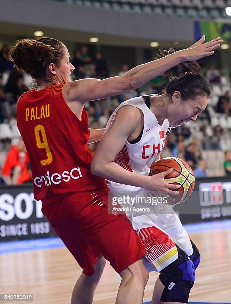 Shao Ting of China in action against Palau Laia of Spain during the FIBA Women's Olympic Qualifying Tournament 2016 between China and Spain at La...