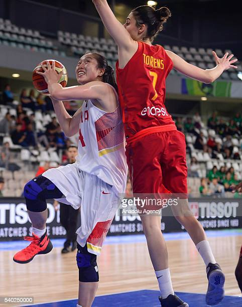 Shao Ting of China in action against Torrens Alba of Spain during the FIBA Women's Olympic Qualifying Tournament 2016 between China and Spain at La...