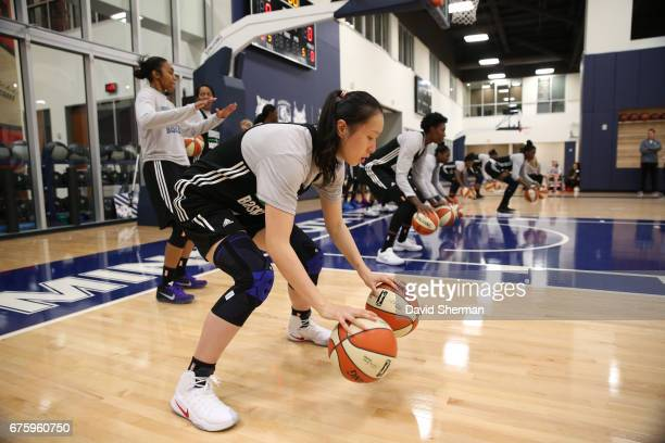 Shao Ting of the Minnesota Lynx dribbles the ball during training camp on April 30 2017 at the Minnesota Timberwolves and Lynx Courts at Mayo Clinic...