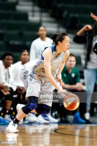 Shao Ting of the Minnesota Lynx handles the ball during the game against the Atlanta Dream during the preseason WNBA game on May 5 2017 at Xcel...