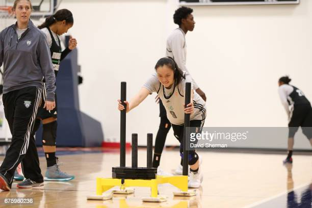 Shao Ting of the Minnesota Lynx lifts weights during training camp on April 30 2017 at the Minnesota Timberwolves and Lynx Courts at Mayo Clinic...