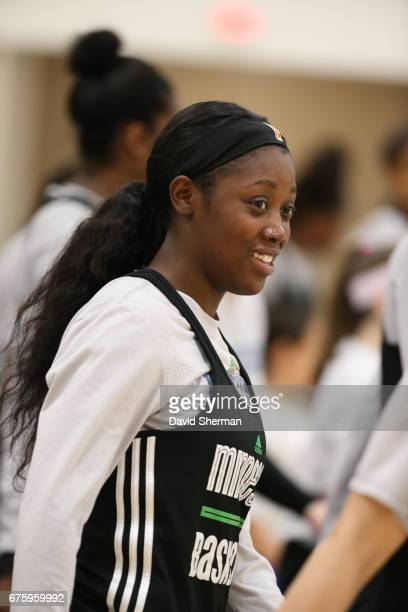 Shao Ting of the Minnesota Lynx looks on during training camp on April 30 2017 at the Minnesota Timberwolves and Lynx Courts at Mayo Clinic Square in...