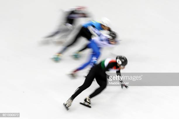 Shaoang Liu of Hungary competes during the Ladies Short Track Speed Skating 1000m Heats on day eleven of the PyeongChang 2018 Winter Olympic Games at...