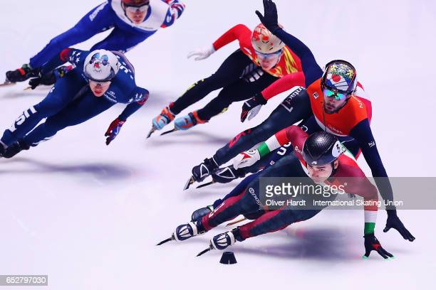 Shaoang Liu of Hungary competes in the Men«s 1000m semi finals race during day two of ISU World Short Track Championships at Rotterdam Ahoy Arena on...