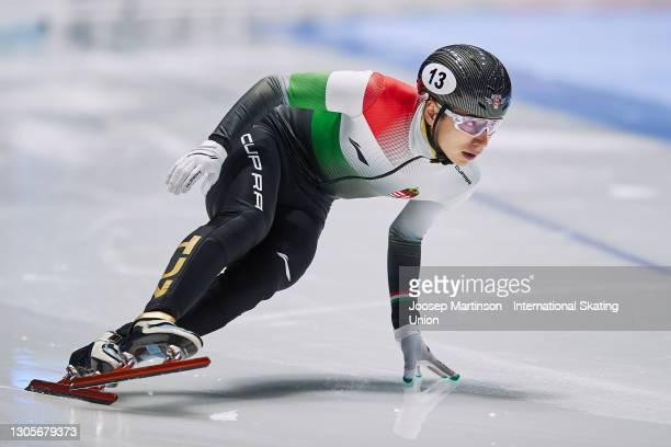 Shaoang Liu of Hungary competes in the Men's 500m final during day 2 of the ISU World Short Track Speed Skating Championships at Sportboulevard...