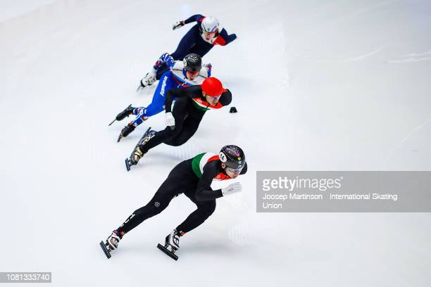 Shaoang Liu of Hungary competes in the Men's 500m final during the ISU European Short Track Speed Skating Championships at Sportboulevard on January...