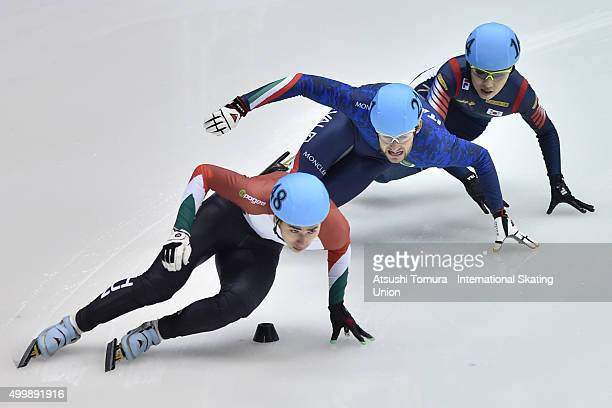 Shaoang Liu of Hungary competes in the Men's 500m Preliminaries on day one of the ISU World Cup Short Track Speed Skating 2015 Nagoya at the Nippon...