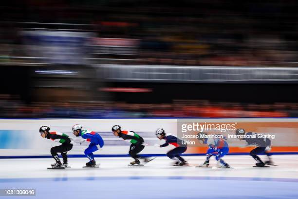 Shaoang Liu of Hungary leads the pack in the Men's 1500m final during the ISU European Short Track Speed Skating Championships at Sportboulevard on...