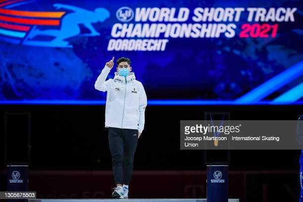 Shaoang Liu of Hungary reacts in the Men's 500m medal ceremony during day 2 of the ISU World Short Track Speed Skating Championships at...
