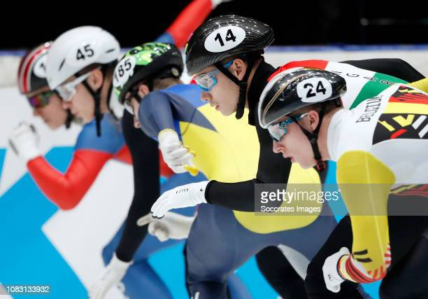Shaoang Liu of Hungary Ward Petre of Belgium during the ISU European Championship Shorttrack at the Sportboulevard Dordrecht on January 11 2019 in...