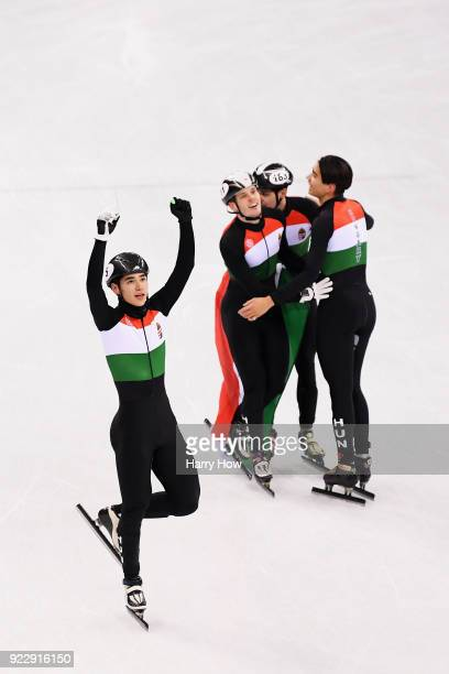Shaoang Liu, Shaolin Sandor Liu, Viktor Knoch and Csaba Burjan of Hungary celebrate winning the gold medal during the Men's 5,000m Relay Final A on...