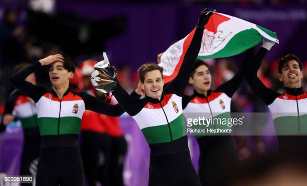 Shaoang Liu Shaolin Sandor Liu Viktor Knoch and Csaba Burjan of Hungary celebrate winning the gold medal during the Men's 5000m Relay Final A on day...