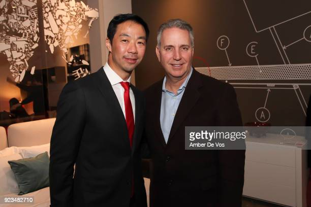 Shaokao Cheng and Peter Amoruso attend New York Chinese New Year Celebration at Calligaris SoHo on February 13, 2018 in New York City.