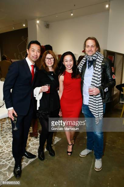 Shaokao Cheng Sally Randall Brunger Niki Cheng and Andrew Brunger attended the Calligaris SoHo Grand Opening on March 8 2017 in New York City